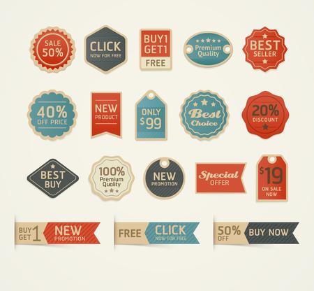 new: Set of retro vintage badges and labels design. Vector illustration. Illustration