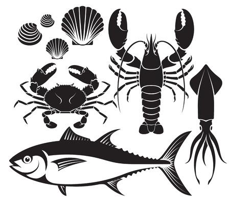 atun rojo: Mariscos conjunto silueta. gambas langosta, cangrejo, atún, crustáceos y calamares. Ilustraciones vectoriales. Vectores