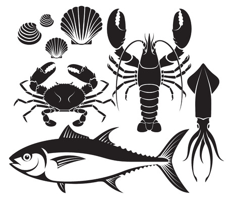 sign: Seafood silhouette set. Lobster prawn, crab, tuna fish, shellfish and squid. Vector Illustrations.