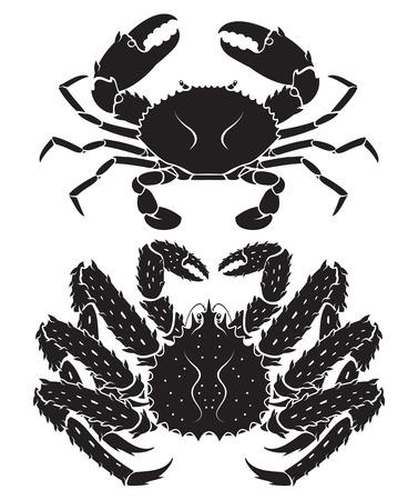 Koningskrab Van Alaska. Vector illustraties.