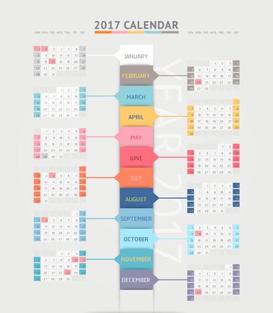 Calendar 2017 print template design. Vector illustrations.