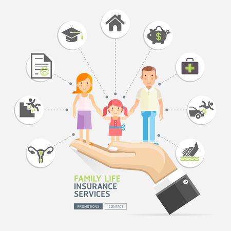 Insurance policy services conceptual design. Hands holding family father mother daughter. Vector Illustrations.