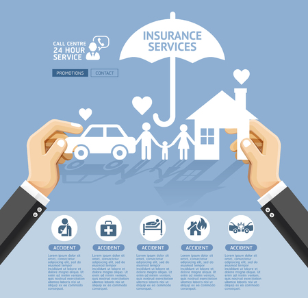protect family: Insurance policy services conceptual design. Hand holding a paper home, car, family. Vector Illustrations.