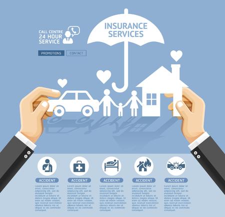 Ubezpieczenia polityki usług koncepcyjnego projektu. Dłoń trzymająca papierowy dom, samochód, rodzina. Ilustracje wektorowe.