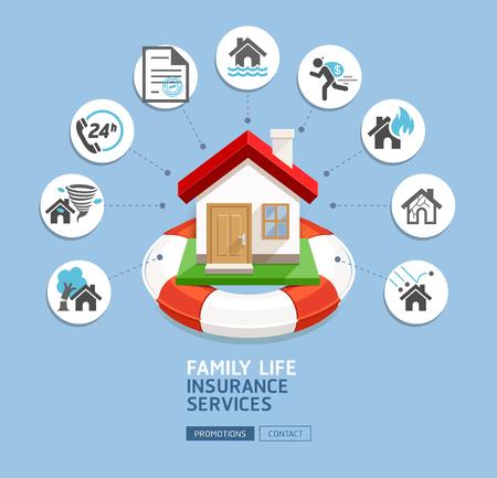Servicios de seguros de casa. Casa con salvavidas en el fondo azul. Ilustraciones vectoriales.