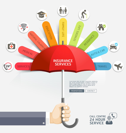 Insurance protection services design template. Business hands holding red umbrella. Vector illustration. Can be used for workflow layout, diagram, web template, infographics.
