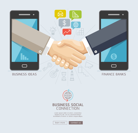 wireless icon: Business social connection technology conceptual design. Mobile and business handshake agreement through display of a smart phone. Vector illustrations. Illustration