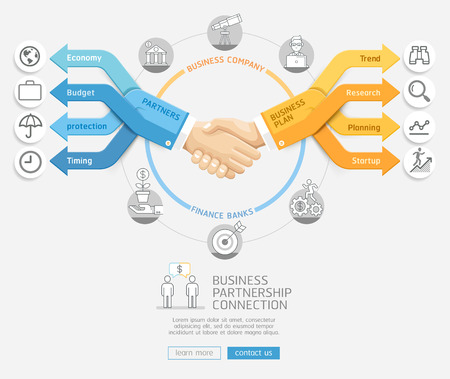 isolated: Business partnership connection concept. Businessmen shaking hands and arrows business Infographics style. Vector illustration. Can be used for workflow layout, banner, diagram, web design template.