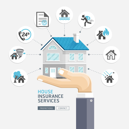 damage: House insurance services. Business hands holding house. Vector Illustrations.