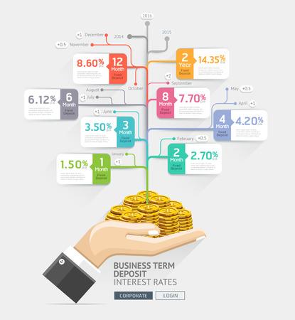 concepto de inversión de las empresas. las tasas de interés de los depósitos plazo conceptual de negocios. Manos del empresario tienen monedas de dinero. Ilustración del vector. Puede ser utilizado para el diseño de flujo de trabajo, bandera, diagrama, plantilla de la infografía, plantilla de línea de tiempo, el diseño web.