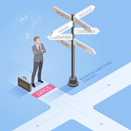 Mensen uit het bedrijfsleven concepten. Zakenman die zich op een kruispunt en op zoek richtingborden pijlen. Isometrische vector illustratie.