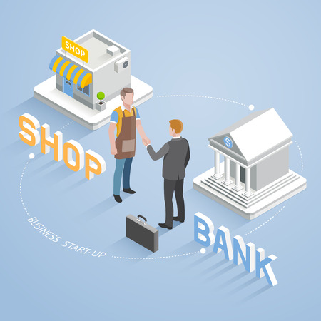 business: Business partnership connection concept. Two businesspeople handshake. Isometric vector illustration.