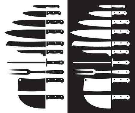 symbols: Butcher knives silhouette. Illustration