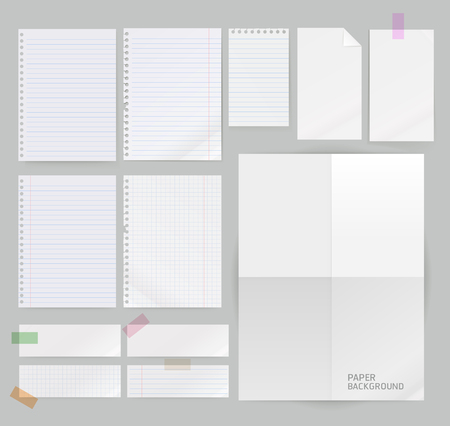 note paper: Group of papers illustration. Illustration