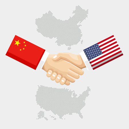 white background: Business partnership connection concept. flags of United States and China overprinted the handshake. Vector illustration.