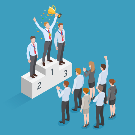 Winner standing on pedestal holding a winner cup over his head with group of business people. Illustration