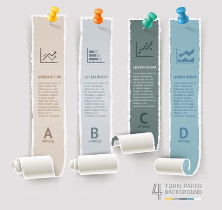 papel de notas: Papel rasgado y plantilla de infografía de chincheta para diseño de flujo de trabajo, diagrama, opciones de números, opciones de aumento, banner y diseño web.