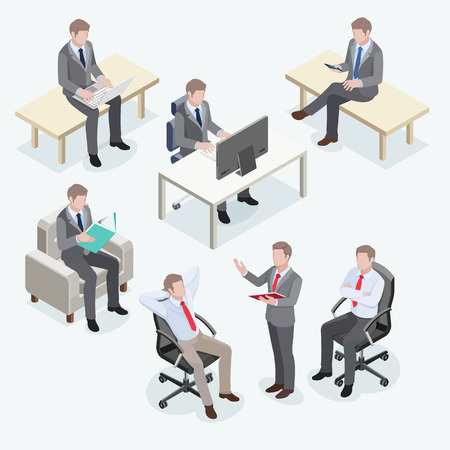 business team: Group of businessmen in isometric design.