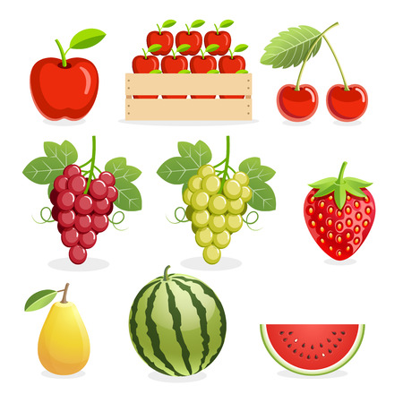 cherries isolated: Apple, cherry, grapes, strawberry, pear, & watermelon fruit icons. Illustration