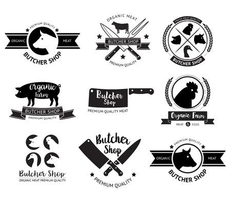 shop sign: Butcher shop logo and labels