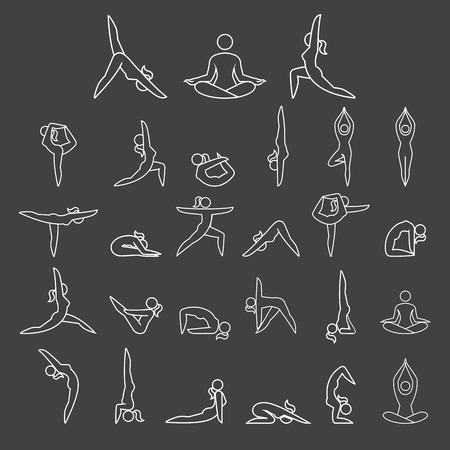 isolated: Womans yoga poses icons set.