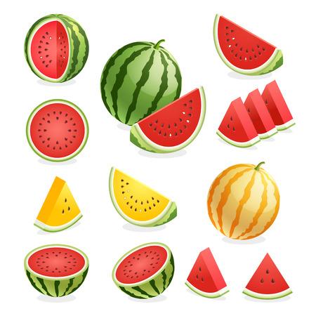 Ikony owoców arbuzów. Ilustracje wektorowe