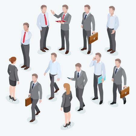 business woman: Group of businessmen isometric design.