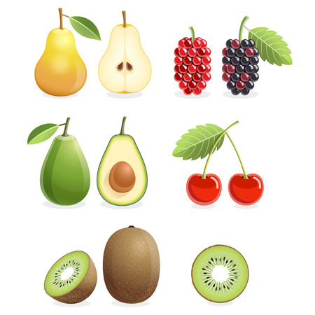 Set of colorful fruit icons - pear, mulberry, cherry, kiwi, & avocado. Иллюстрация