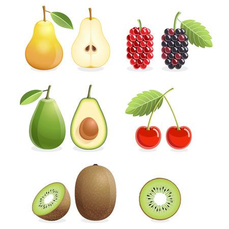 Set of colorful fruit icons - pear, mulberry, cherry, kiwi, & avocado. Illustration