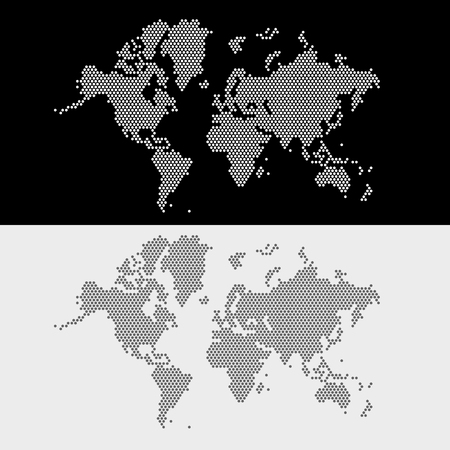 voyage: Planisphère style points. Vector illustration.