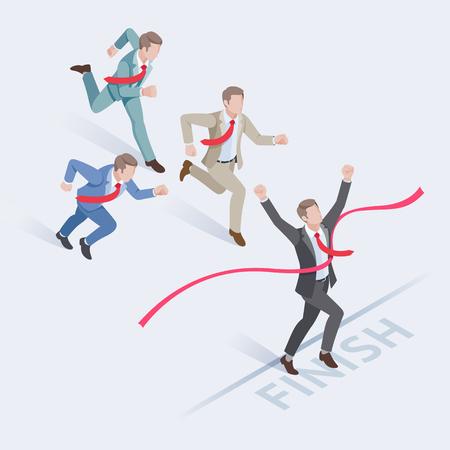 成功のビジネス人々 の概念。フィニッシュ ラインで実行している実業家のグループ。等尺性のベクトル図です。  イラスト・ベクター素材