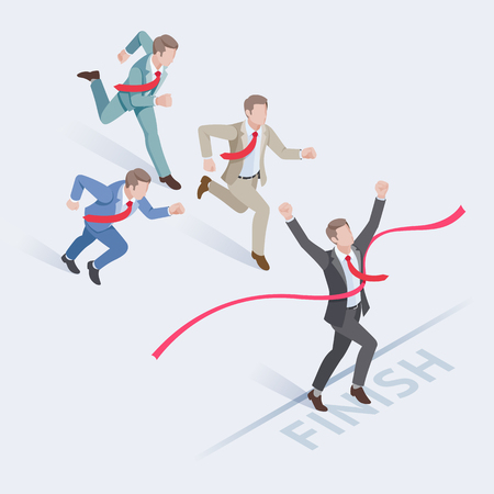Business people concepts for success. Group of businessman running at the finish line. Isometric vector illustration.