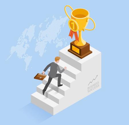 成功のビジネス人々 の概念。ビジネスマンはゴールド トロフィー カップ アイコンに階段を実行を高速化します。等尺性のベクトル図です。  イラスト・ベクター素材