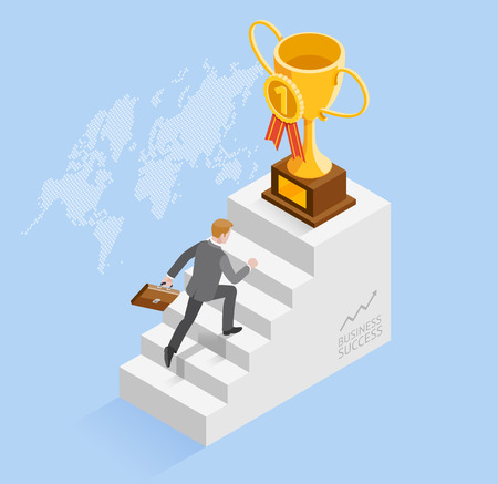 Business people concepts for success. Businessman speed up running up the Stairs to the gold trophy cup icon. Isometric vector illustration.