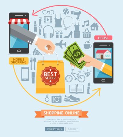 La comercialización del negocio en línea conceptual. El hombre de negocios la celebración de bolsa de clientes de las mujeres. Ilustración del vector. Ilustración de vector