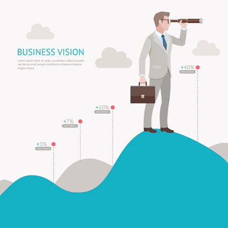 Business vision concepts. Businessman looking through binoculars standing on a mountain graph. Vector illustration.
