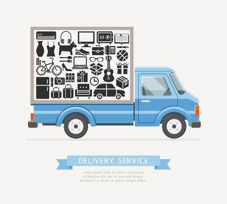 Servicio de camiones de reparto Estilo plano. Ilustraciones vectoriales. Ilustración de vector