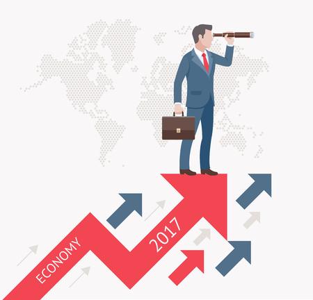 conceptos de visión de negocio. Hombre de negocios mirando a través de binoculares se colocan en un flechas rojas. Ilustración del vector.