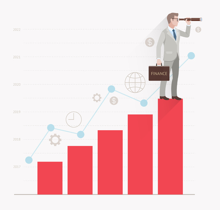 view: Business vision concepts. Businessman looking through binoculars standing on a bar graph. Vector illustration.