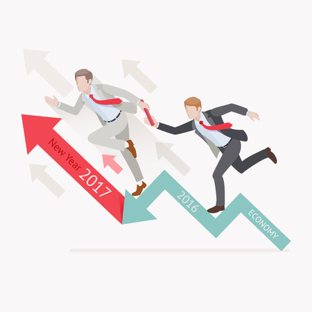 Business growth concepts. Two businessman passing the baton running relay race on arrow. Vector illustration. Illustration