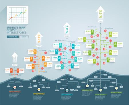 비즈니스 트리 타임 라인 infographics. 벡터 일러스트 레이 션. 워크 플로 레이아웃, 배너, 다이어그램, 웹 디자인 템플릿에 대 한 사용할 수 있습니다.