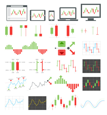 Binary options icons. Vector illustrations. 일러스트