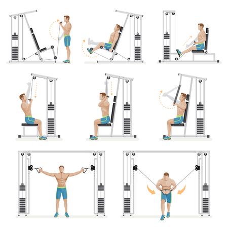 healthy body: Gym exercises machines sports equipment. Vector Illustration.