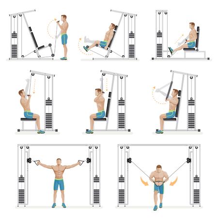 man: Gym exercises machines sports equipment. Vector Illustration.