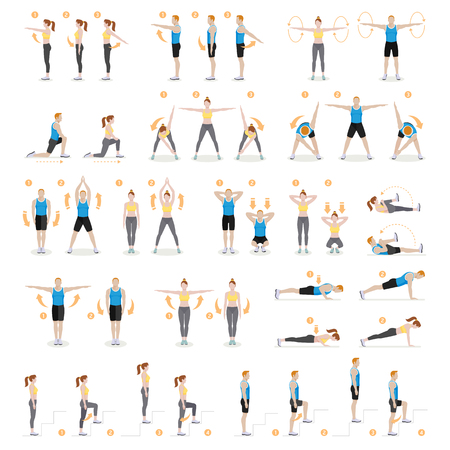 Ćwiczenia treningowe mężczyzny i kobiety, aerobik i ćwiczenia. Ilustracje wektorowe.