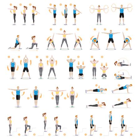 El hombre y la mujer ejercitan fitness, aeróbicos y ejercicios. Ilustraciones vectoriales.