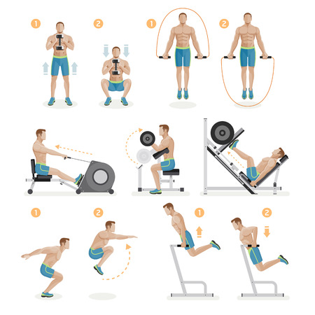 symbol: Gym exercises machines sports equipment. Vector Illustration.
