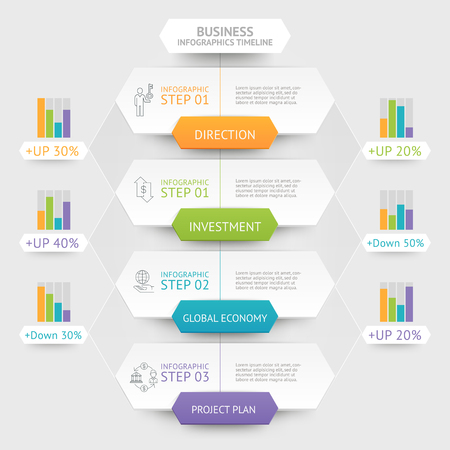 modern background: Business hexagon infographics template. Can be used for workflow layout, diagram, number options, web design and timeline.