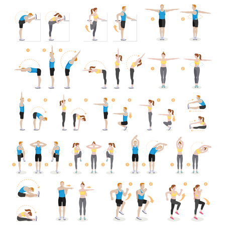 human anatomy: Man and woman workout fitness, aerobic and exercises. Vector illustrations.