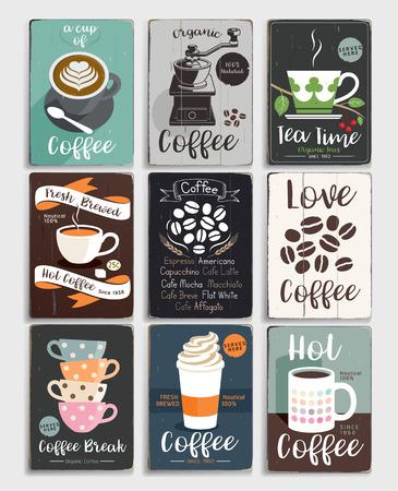 Kawa i herbata vintage plakat. Ilustracja wektora